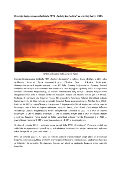 Komisja Krajoznawcza Oddziału PTTK Sudety Zachodnie w Jeleniej Górze 2013 [Dokument elektroniczny]