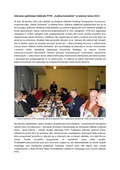 Zebranie opłatkowe Oddziału PTTK Sudety Zachodnie w Jeleniej Górze [Dokument elektroniczny]