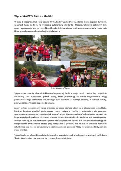 Wycieczka PTTK Bardo – Kłodzko [Dokument elektroniczny]