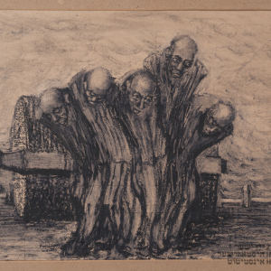 Oświęcim - pięciu więźniów zaprzężonych do walca