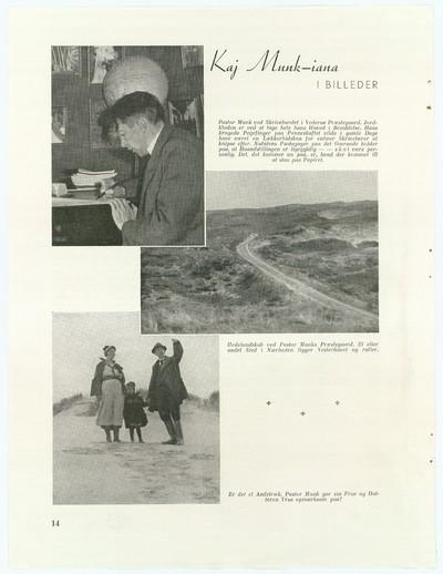 Kaj Munk ved sin skrivepult samt med frue og datter