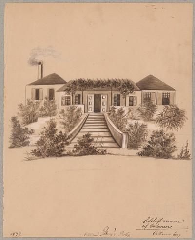 Etatsraad Bergs bolig. Ødelagt senere af orkanen
