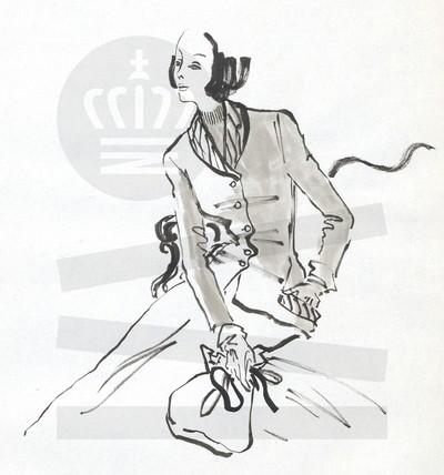 Kvinde i højhalset bluse