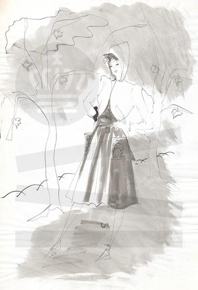 Kvinde poserer i skov