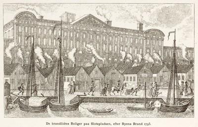 De brandlidtes Boliger paa Slotspladsen, efter Byens Brand 1795