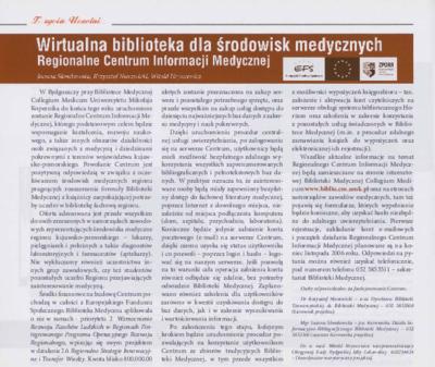 Wirtualna biblioteka dla środowisk medycznych : Regionalne Centrum Informacji Medycznej