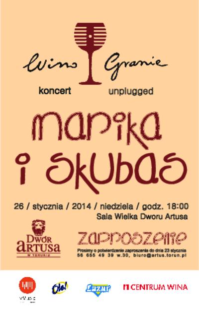 WinoGranie : koncert unplugget Marika i Skubas : 26 stycznia 2014 : zaproszenie