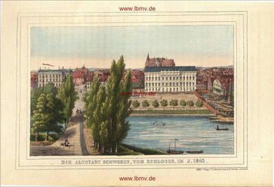 Schwerin, Altstadt vom Schloss im Jahre 1842