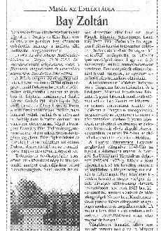 Mesél az emléktábla - Bay Zoltán - újságcikk