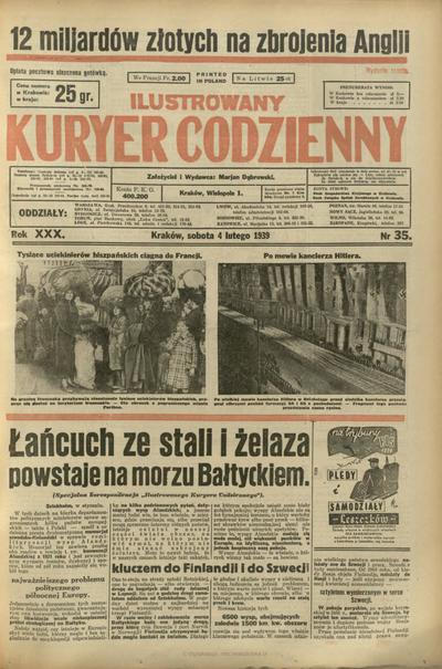 Ilustrowany Kuryer Codzienny. 1939, nr 35 (4 II)