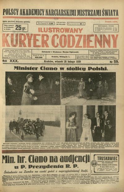 Ilustrowany Kuryer Codzienny. 1939, nr 59 (28 II)