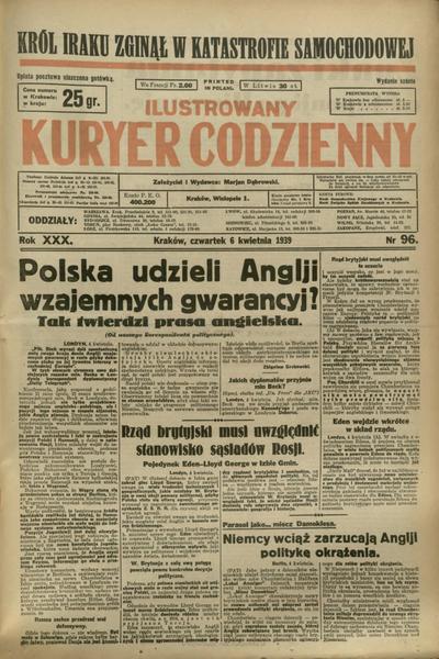 Ilustrowany Kuryer Codzienny. 1939, nr 96 (6 IV)