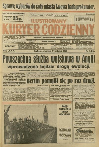 Ilustrowany Kuryer Codzienny. 1939, nr 115 (27 IV)