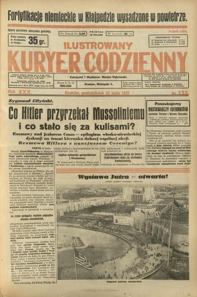 Ilustrowany Kuryer Codzienny. 1939, nr 133 (15 V)