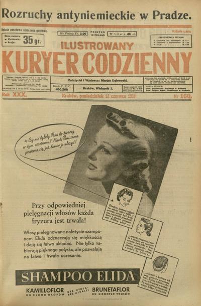 Ilustrowany Kuryer Codzienny. 1939, nr 160 (12 VI)