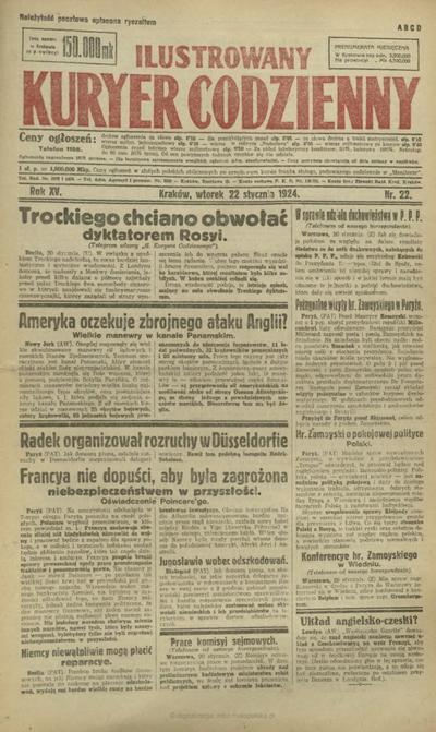 Ilustrowany Kuryer Codzienny. 1924, nr 22 (22 I)