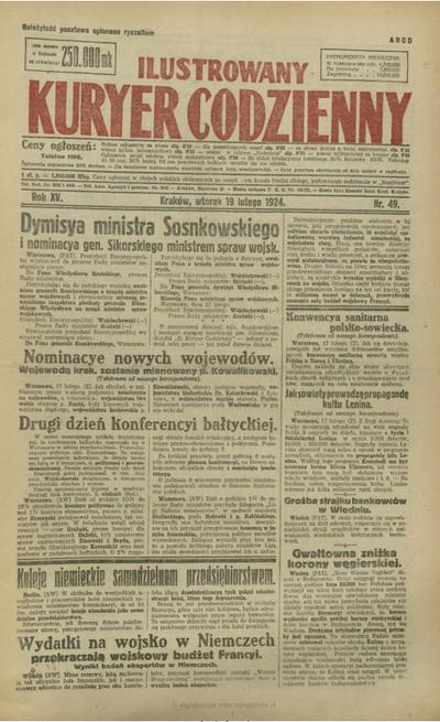 Ilustrowany Kuryer Codzienny. 1924, nr 49 (19 II)