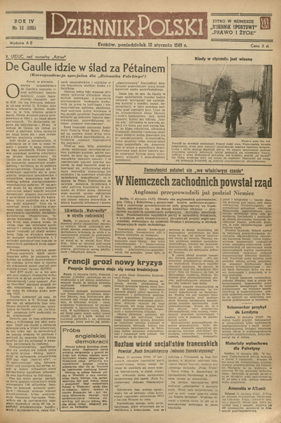 Dziennik Polski. 1948, nr 12 (12 I) = nr 1051