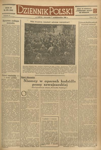 Dziennik Polski. 1948, nr 275 (7 X) = nr 1314