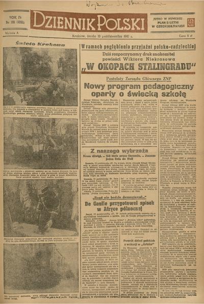 Dziennik Polski. 1948, nr 281 (13 X) = nr 1320