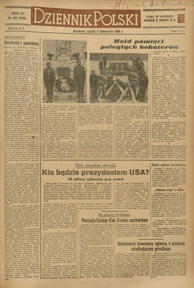 Dziennik Polski. 1948, nr 301 (3 XI) = nr 1340