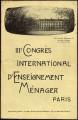 III Congrès International d'Enseignement Ménager (Paris): Programa