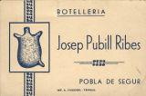 Targeta de la boteria d'en Josep Pubill Ribes