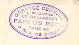 Segell de Garatge Central reparacions autos lloger Farrús Peró de La Pobla de Segur.