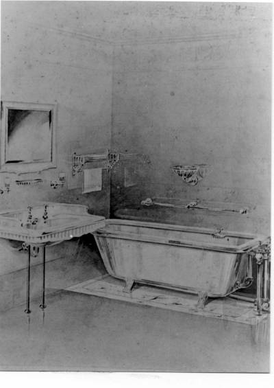 Fotografia d'un dibuix , proposta de bany per a un vaixell de la Cia Trasatlantica