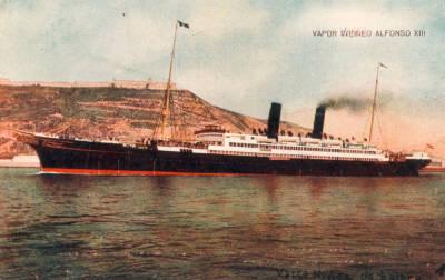 Vapor ALFONSO XIII 2 , de la Cia Trasatlantica , al port de Barcelona