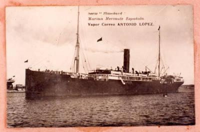 Vapor ANTONIO LOPEZ ( 3 ), de la Cia Trasatlantica , navegant