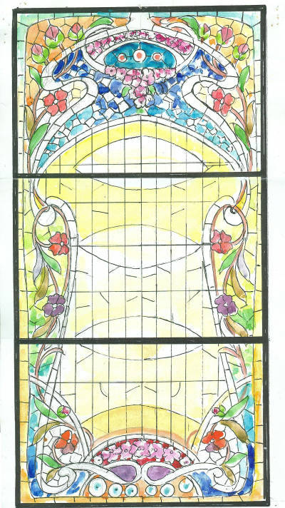 Esbós de vitrall modernista per casa particular