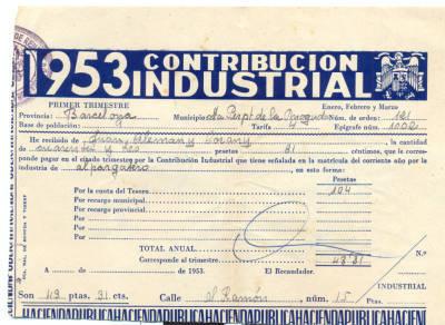 Rebut de la Contribució industrial del primer trimestre de l'any 1953