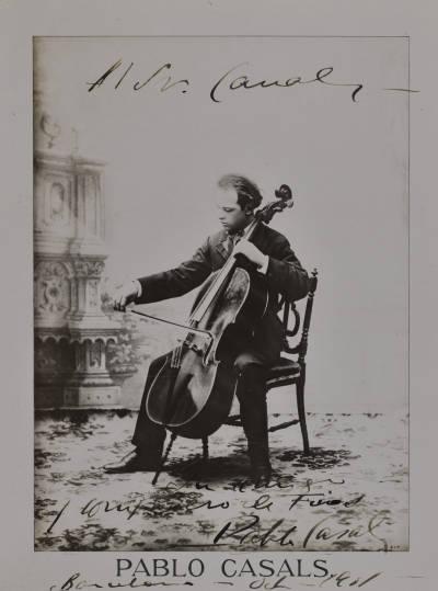 Reproducció d'un retrat de Pau Casals dedicat a Joaquim Canals