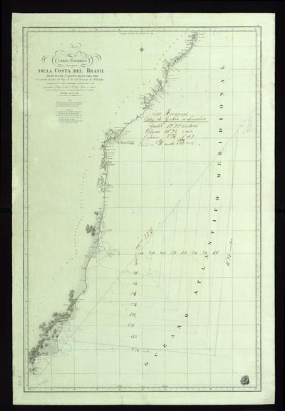 Carta esférica de una parte de la costa del Brasil desde el cabo Sn. Agustín hasta cabo Frío