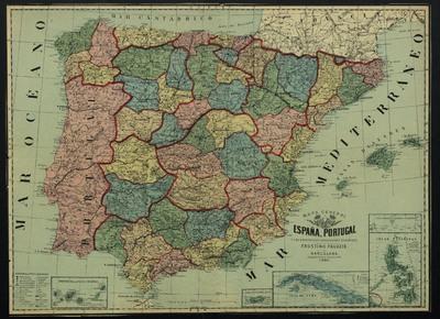 Mapa general de España, Portugal y las principales posesiones españolas