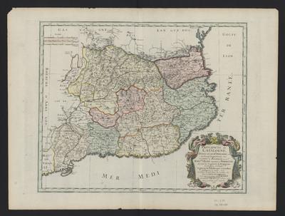 Principauté de Catalogne, divisée en neuf Dioceses; et en dix-sept vegueries, & c. Mais le comté de Roussillon, ou est l'evesche. d'Elne transferé a Perpignan ...