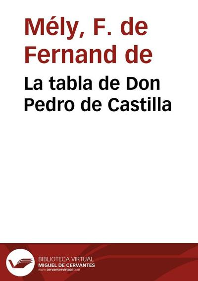 La tabla de Don Pedro de Castilla