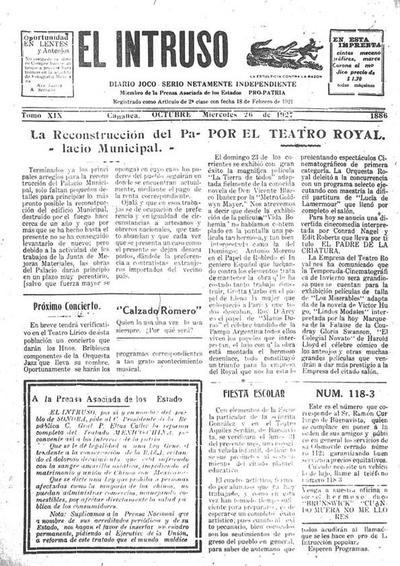 Diario Joco-serio netamente independiente. Tomo XIX, núm. 1886, miércoles 26 de octubre de 1927