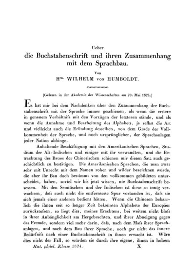 Gelesen in der Akademie der Wissenschaften am 20. Mai 1824