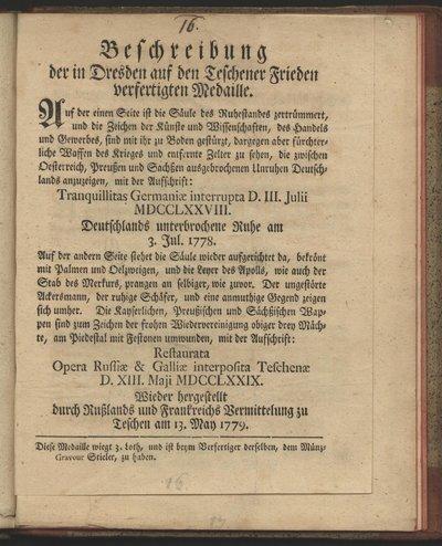 Beschreibung der in Dresden auf den Teschener Frieden verfertigten Medaille