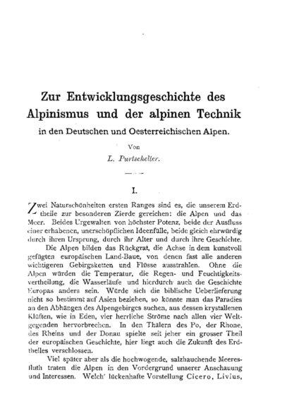 Zur Entwicklungsgeschichte des Alpinismus und der alpinen Technik in den Deutschen und Oesterreichischen Alpen