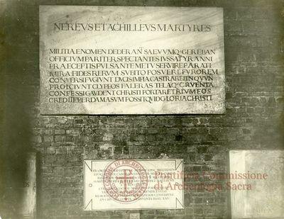 Inscription from Rome, Basilica ss. Nerei et Achillei in coem. Domitillae - ICVR III, 8132