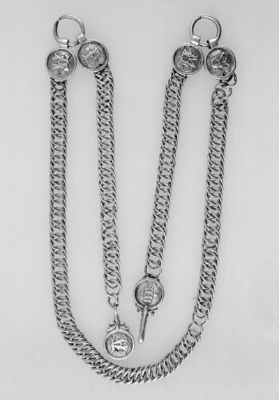 Silver girdle with medallions. France, probably Paris, about 1520-1620. Silver girdle with medallions showing the Sacred Monogram (IHS) and in Lombardic lettering 'MARIA'.  Silver.