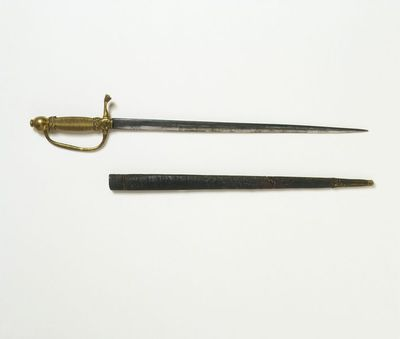 Doll's steel-blade sword and wooden scabbard, London, 1690-1700.