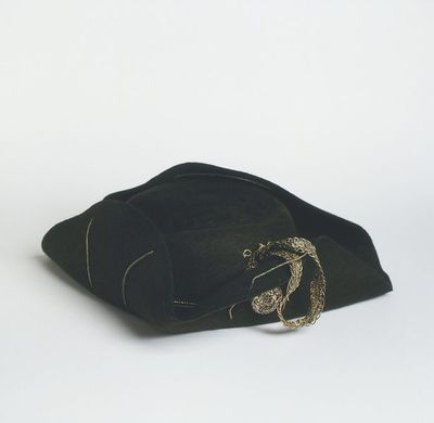 Doll's tricorne hat, made by T. Bourdillon, London, after 1785.