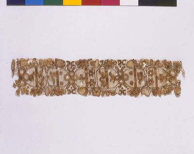 Band of needle lace worked in human hair, England, 1625-1675.
