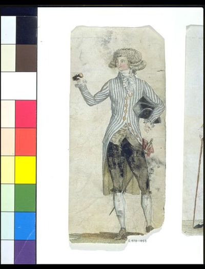 Fashion plate showing men's costume. Hand-coloured engraving, French, 1780s.Colour print showing men's costume. The print depicts a man wearing a coat with blue and white stripes, black breeches and powdered wig. In his right hand he holds a pair of binoculars and under his left arm is a tricorne hat. At his left side he wears a sword.Hand-coloured engraving on paper.
