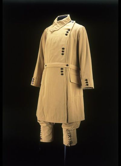 Ski outfit of gabardine lined with satin, made in Great Britain, ca. 1922.