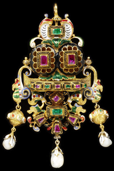 Enamelled gold pendant set with table-cut rubies and emeralds, and hung with pearls, possibly made by the Castellani Firm, probably in Italy (Rome), about 1865. Jewelled Renaissance Revival pendant with brooch fitting. Enamelled gold set with table-cut rubies and emeralds, and hung with pearls.  Gold, enamel, set with rubies, emeralds and pearls.